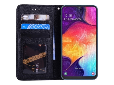 Калъф Тефтер Litchi за Samsung Galaxy A20/A30, Черен