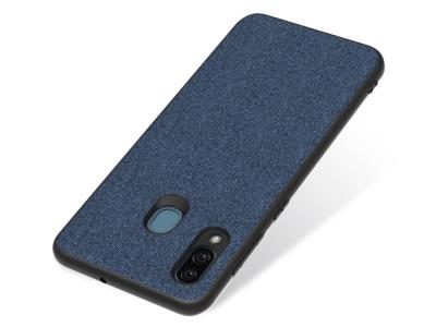 Удароустойчив Гръб Cloth Leather за Samsung Galaxy A30, Тъмно син