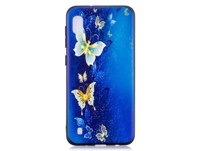 Силиконов Гръб за Samsung Galaxy A10, Златисти пеперуди