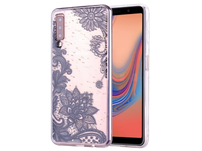 Силиконов Гръб за Samsung Galaxy A70, Черна Дантела