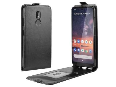 Калъф тефтер Crazy Horse за Nokia 3.2, Черен