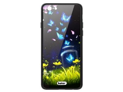 Пластмасов Гръб Glass Boter за iPhone 6 / 6s, Сини Пеперуди