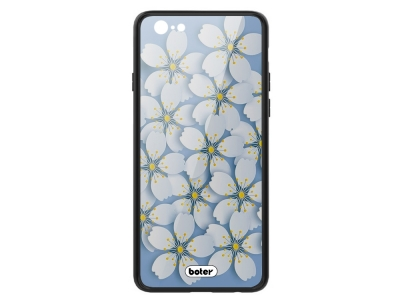 Пластмасов Гръб Glass Boter за iPhone 6 / 6S, Бели цветя
