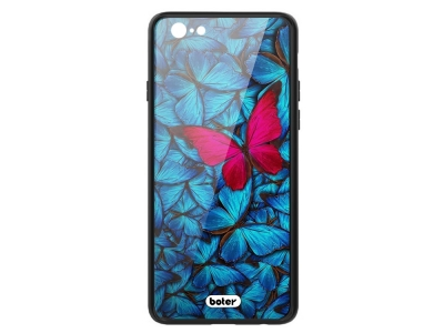 Пластмасов Гръб Glass Boter за iPhone 6 / 6S, Розова пеперуда