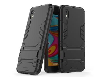 Удароустойчив гръб с Поставка за Samsung Galaxy A2 Core, Черен