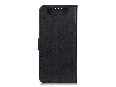 Калъф Тефтер Litchi за Samsung Galaxy A80 / A90, Черен