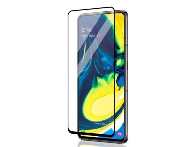 Стъклен протектор 5D Full Glue за Samsung Galaxy A80 / A90, Черен