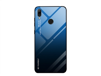 Стъклен Гръб Glass за Huawei Y7 2019, Черен/ Син