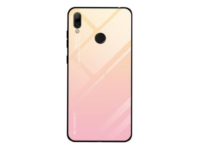 Стъклен Гръб Glass за Huawei Y7 2019, Розов/ Златист