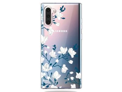 Силиконов Гръб за Samsung Galaxy Note 10, Бели цветя