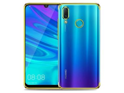 Силиконов гръб с лайсна CLEAR за Huawei P Smart 2019, Златист