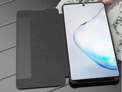 Калъф Тефтер с Прозорец за Samsung Galaxy Note 10 Plus / Note 10 Plus 5G, Черен