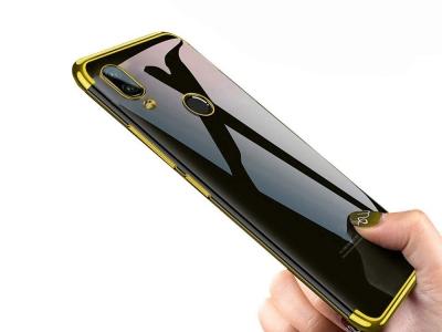 Силиконов гръб с лайсна CLEAR за Xiaomi Redmi Note 7, Златист