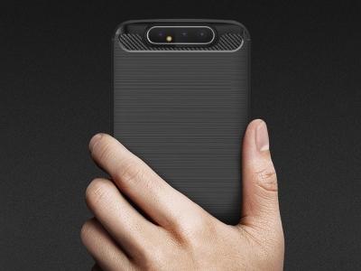 Силиконов гръб Carbon за Samsung Galaxy A80, Черен