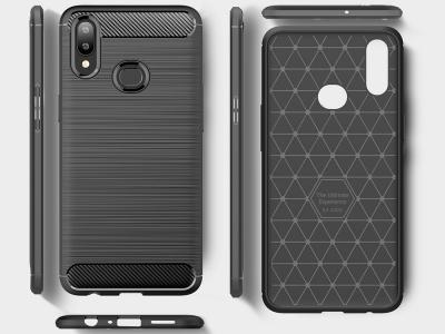 Силиконов гръб Carbon Fibre за Samsung Galaxy A10s, Черен