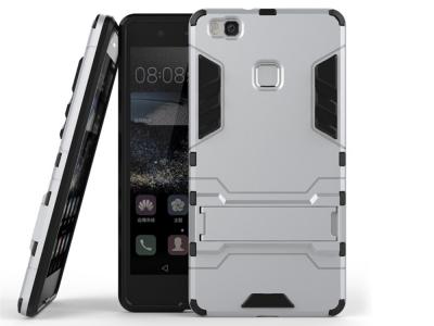 Удароустойчив гръб с Поставка за Huawei P9 lite, Сребрист