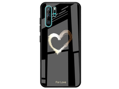 Стъклен Гръб Glass за Huawei P30 Pro, Черен със Сърце