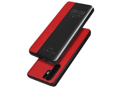 Калъф тефтер View Cover (ест. кожа) за Huawei P30 Pro, Червен