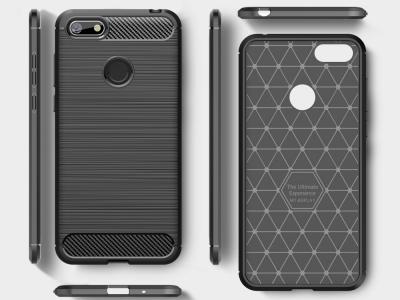 Силиконов гръб Carbon Fibre за Motorola Moto E6 Play, Черен