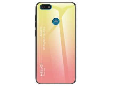 Стъклен Гръб Glass за Motorola Moto E6 Play, Жълт / Розов