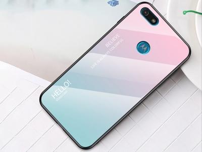 Стъклен Гръб Glass за Motorola Moto E6 Play, Розов/ Син