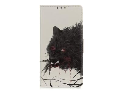 Калъф Тефтер Book за Alcatel 3x (2019), Черен вълк