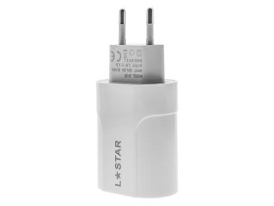 Мрежово Зарядно 220V L Stars с кабел Micro USB, 2.1A, Бял
