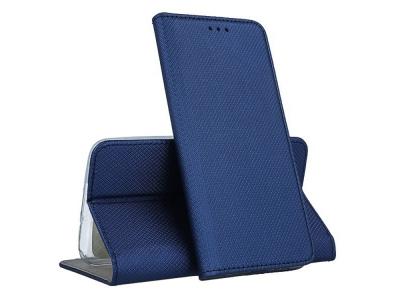 Калъф тефтер Smart Book за LG Q60, Син