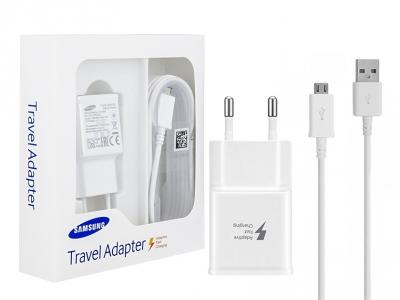 Оригинално зарядно  SAMSUNG MICRO USB (EP-TA20EWE+ECB-DU4AWE) 2A , Бял