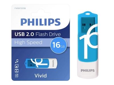 USB Flash памет PHILIPS USB 2.0 16GB VIVID , Син