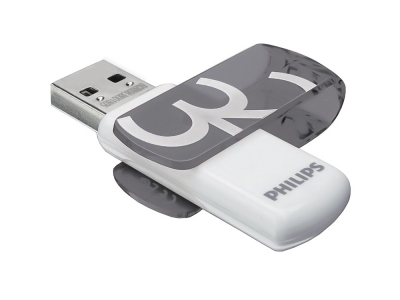 USB Flash памет PHILIPS USB 2.0 32GB VIVID , Сив