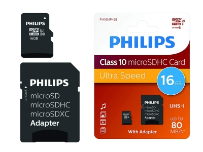 Micro SD карта 16GB SDHC с Адаптер PHILIPS CLASS 10
