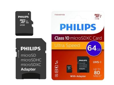 Micro SD карта 64GB SDHC с Адаптер PHILIPS CLASS 10