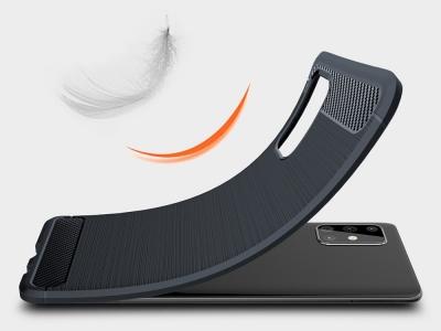 Силиконов гръб Carbon за Samsung Galaxy A71,Тъмно син