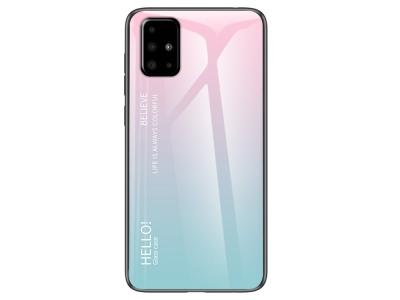 Стъклен гръб Glass за Samsung Galaxy A51, Розов/ Зелен
