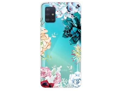 Силиконов Гръб за Samsung Galaxy A51, Пъстри цветя
