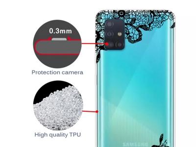 Силиконов Гръб за Samsung Galaxy A71, Дантелени Цветя