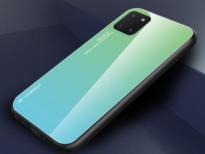 Стъклен Гръб Glass за Samsung Galaxy A81 / Note 10 lite , Зелен /Син