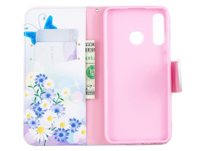 Калъф Тефтер за Huawei P30 Lite, Пеперуди и Цветя