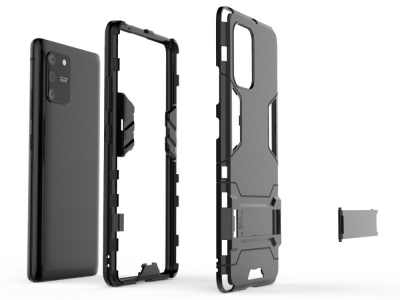 Удароустойчив гръб с Поставка за Samsung Galaxy S10 Lite / Galaxy A91, Черен