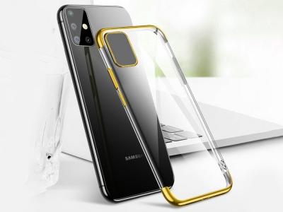 Силиконов гръб с лайсна CLEAR за Samsung Galaxy A51, Златист