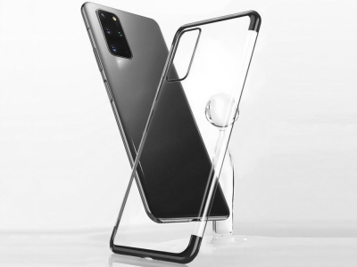Силиконов гръб с лайсна CLEAR за Samsung Galaxy S20 Plus, Черен