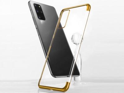 Силиконов гръб с лайсна CLEAR за Samsung Galaxy S20, Златист
