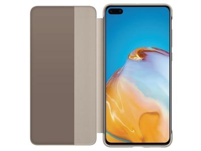 Оригинален калъф тефтер за Huawei P40 Smart View Flip Cover, Златисто\ Кафяв