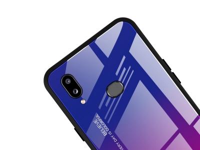 Стъклен Гръб Glass за Samsung Galaxy A10s, Тъмно син/ Розов