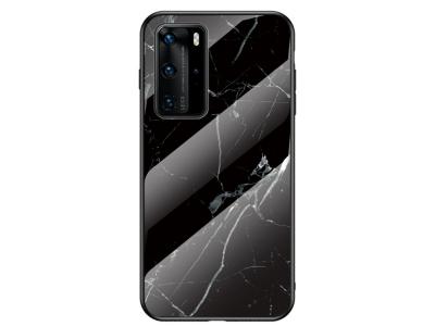 Стъклен Гръб Glass за Huawei P40 Pro, Черен мрамор