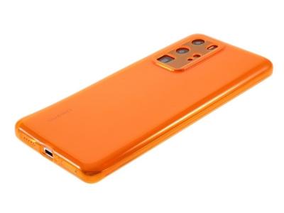 Силиконов гръб за Huawei P40 Pro, Прозрачен/ Оранжев