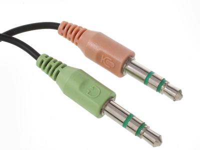Преходник 2 x 3.5mm мъжко към 3.5mm женско Mic Audio Y Splitter Cable Smartphone Headset to PC Adapter