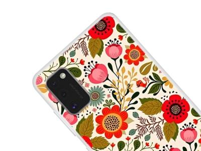 Силиконов гръб за Samsung Galaxy A41, Червени цветя