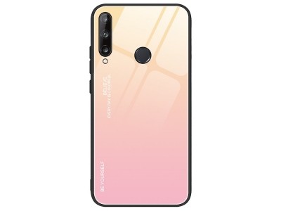 Стъклен гръб Glass за Huawei P40 Lite E/Y7P, Златист-Розов